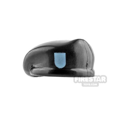 Image of Brick Forge Black Beret with Blue Badge