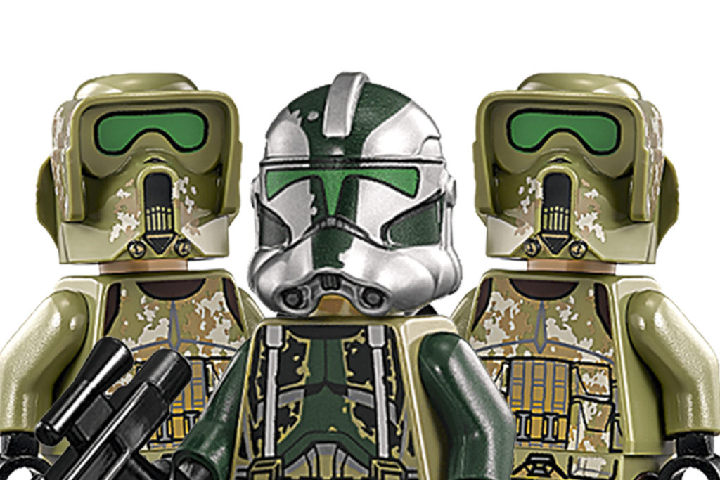 LEGO Army - Image of the LEGO Commander Gree Minifigure alongside two Troopers