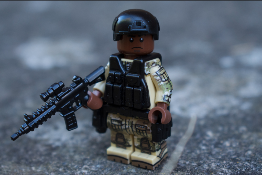 Custom LEGO Headgear - Image of Soldier in IBH Helmet with BrickArms PCV