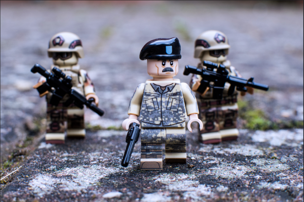 Custom LEGO Headgear - Image of Custom General Shepherd in US BDUs with Brickforge Beret, accompanied by two Ranger minifigures.