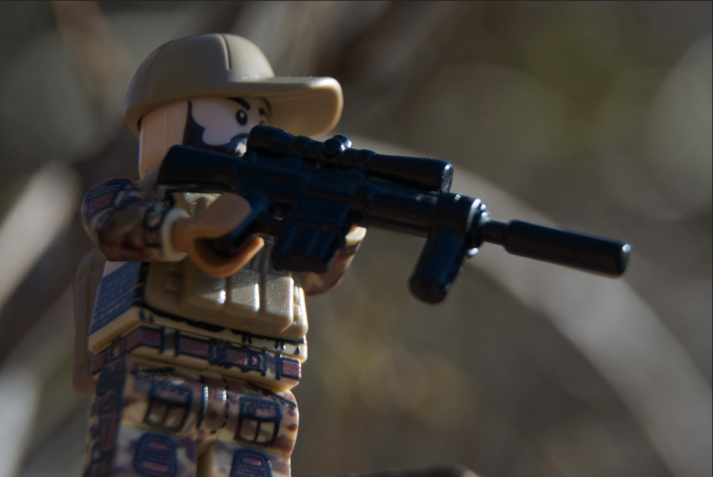 Custom LEGO Headgear - Image of Soldier in BrickArms PCV and Sniper Rifle