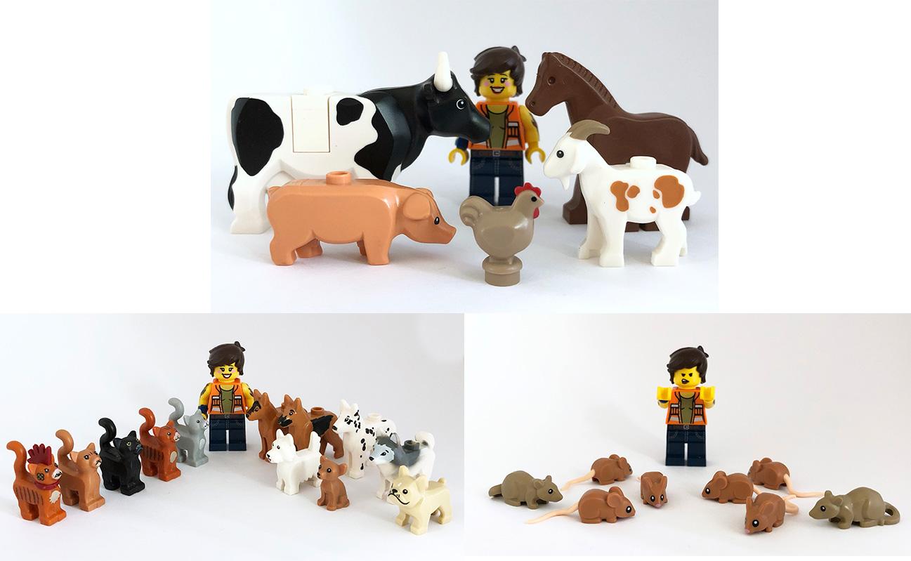 4 Lego Cat Animal Crouching Dark Brown City  Minifigure LOT new minfig