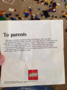 Letter from LEGO about gender equality