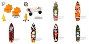 lego summer surfboards, skates and skateboard