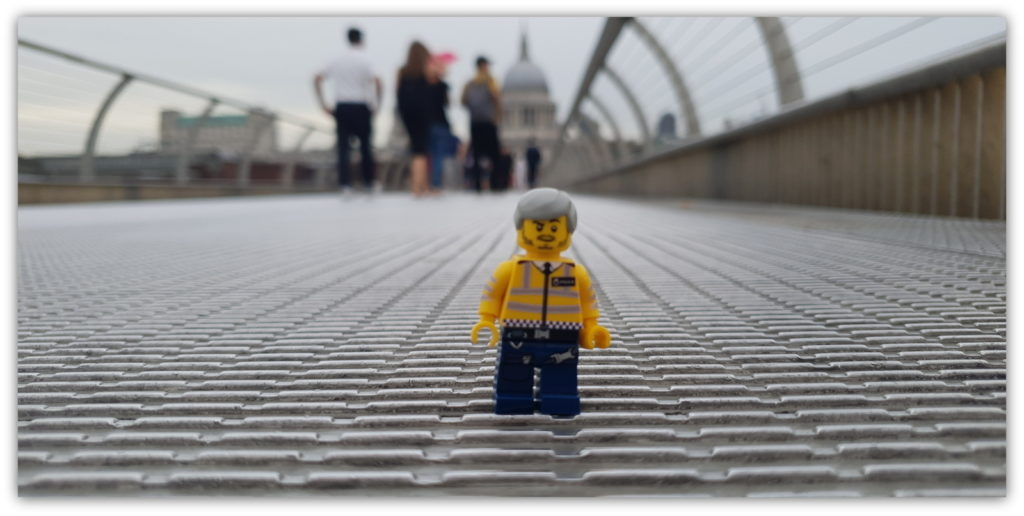 minifigure on the Millenium Bridge, London