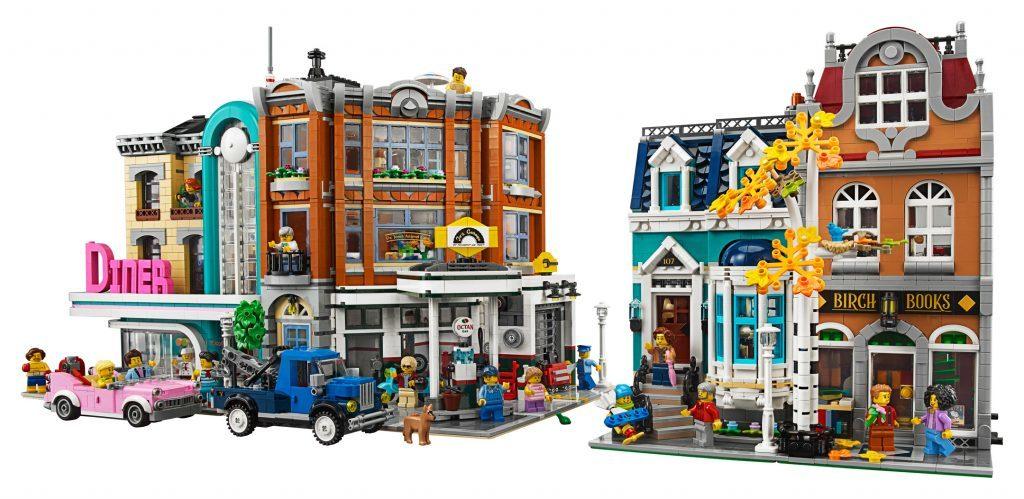 lego modular downtown diner, corner garage and birch books