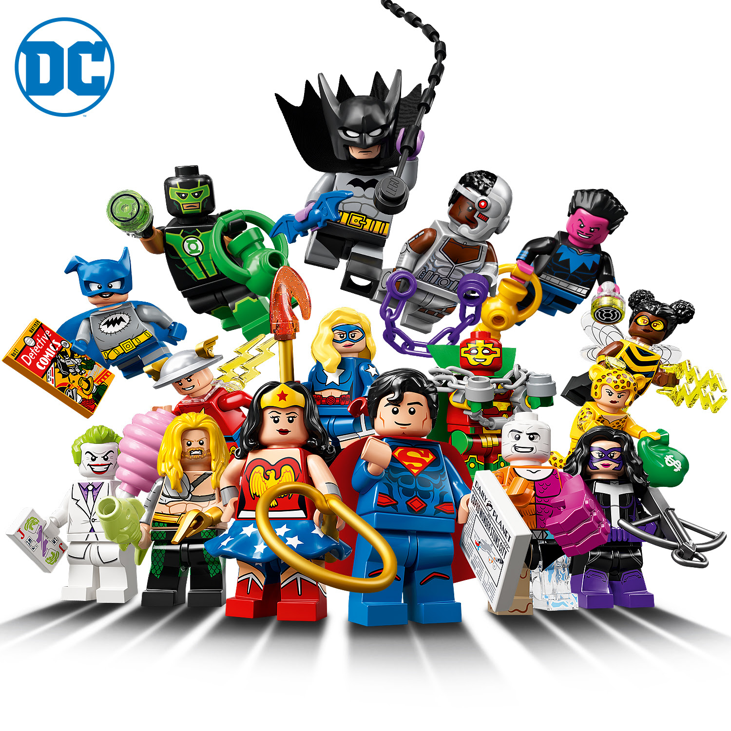 LEGO Collectable Minifigures DC Super Heroes Series - Header Image of all Heroes