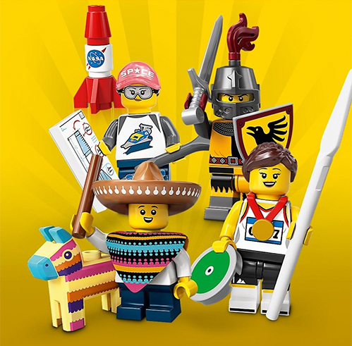 collectible minifigures series 20 pinata, athlete, knight, space