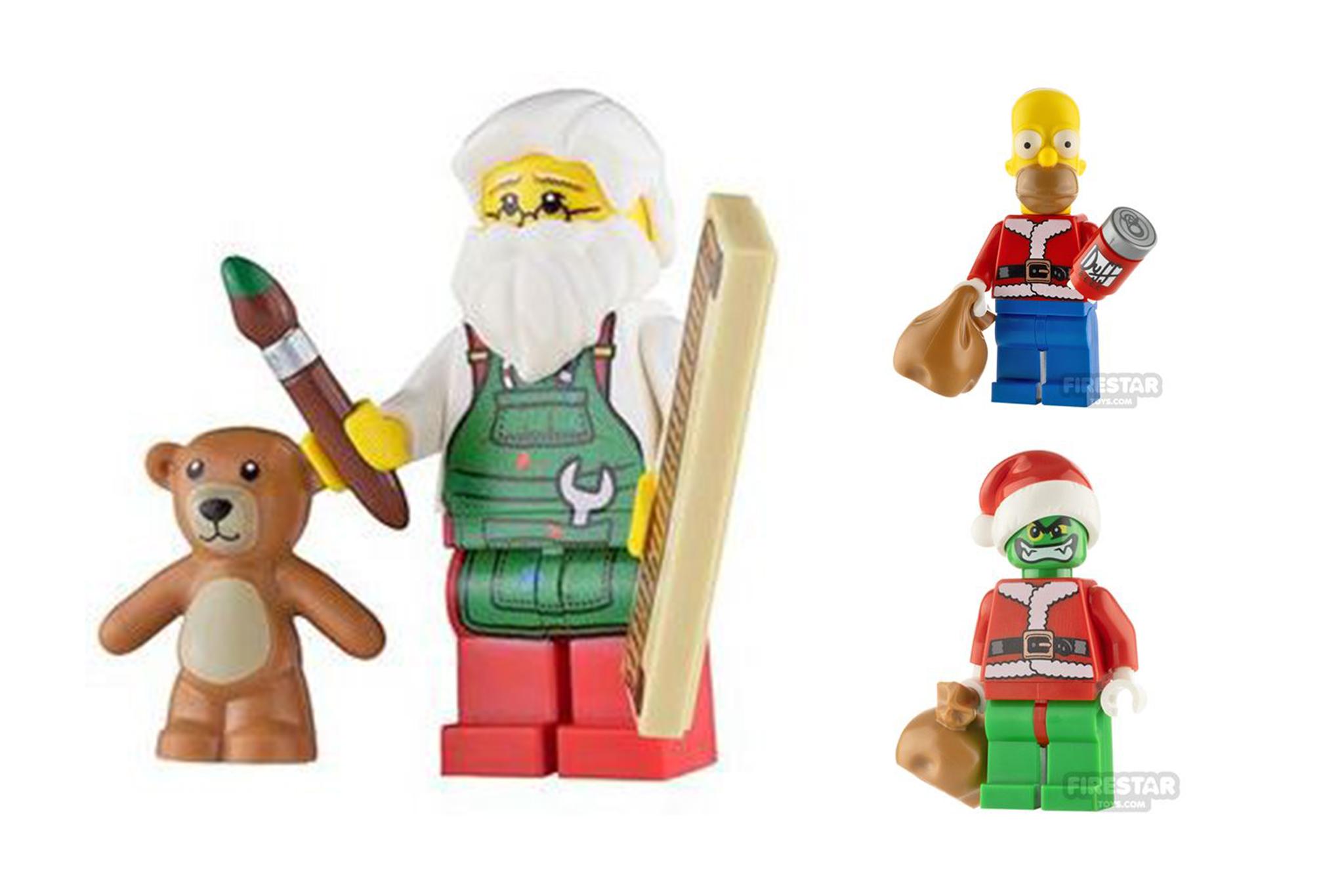 LEGO Custom Minifigure of Santa, Homer and Grinch
