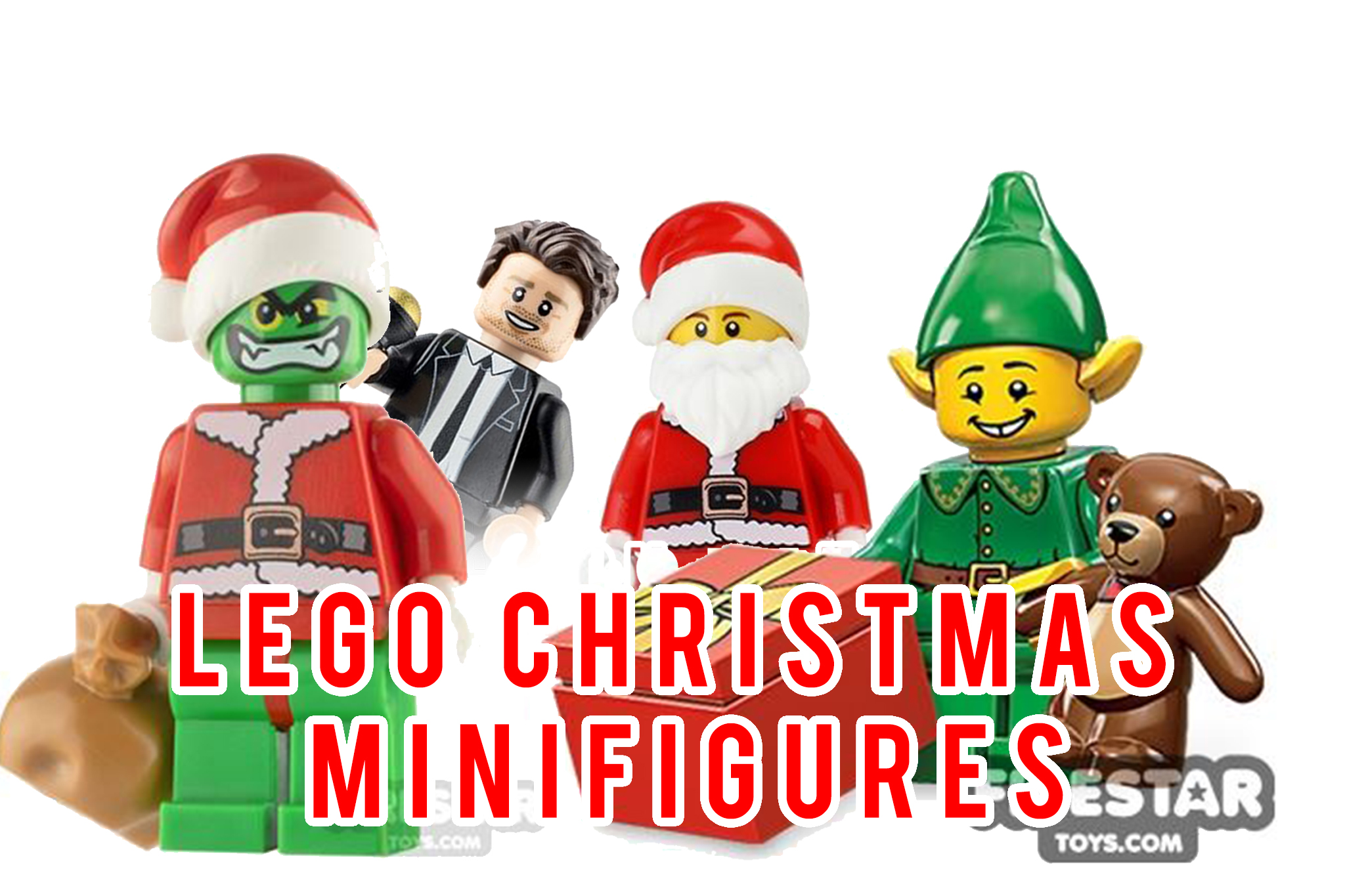 LEGO Christmas Minifigures - Header Image of Grinch, Buble, Santa and Elf